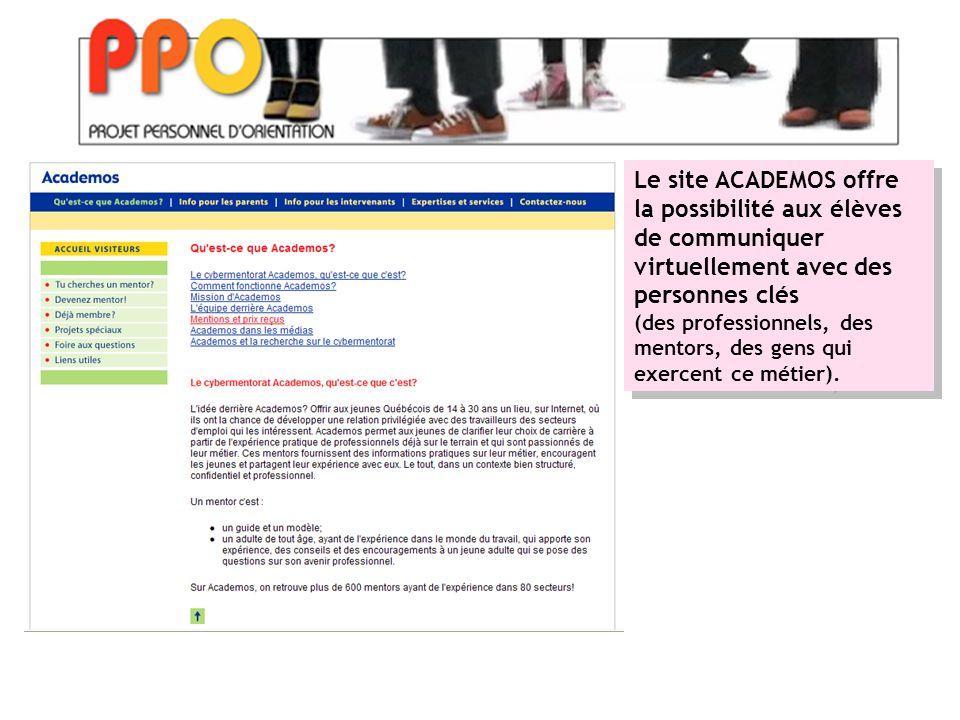 Le site ACADEMOS offre la possibilité aux élèves de communiquer virtuellement avec des personnes clés (des professionnels, des mentors, des gens qui exercent ce métier).