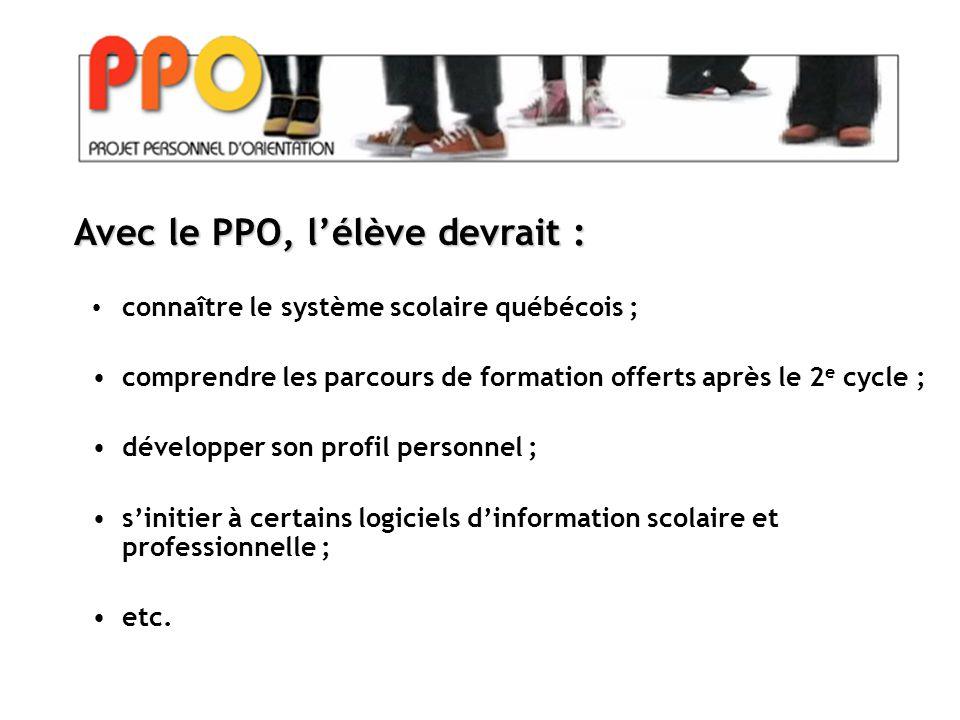 connaître le système scolaire québécois ; comprendre les parcours de formation offerts après le 2 e cycle ; développer son profil personnel ; s'initier à certains logiciels d'information scolaire et professionnelle ; etc.