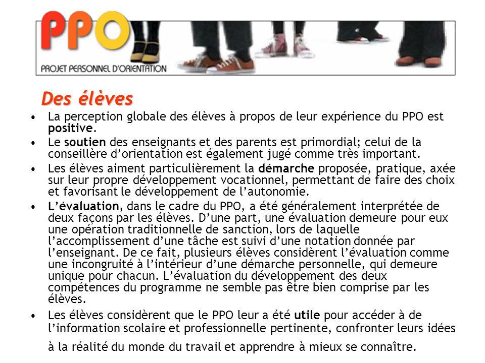 La perception globale des élèves à propos de leur expérience du PPO est positive.