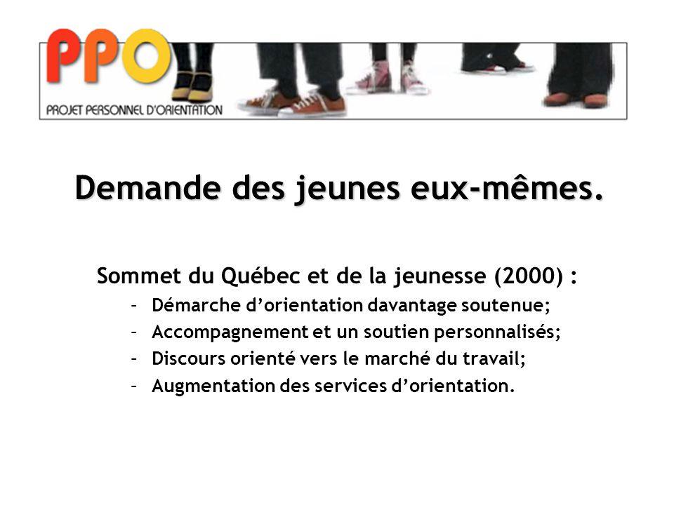 Sommet du Québec et de la jeunesse (2000) : –Démarche d'orientation davantage soutenue; –Accompagnement et un soutien personnalisés; –Discours orienté vers le marché du travail; –Augmentation des services d'orientation.