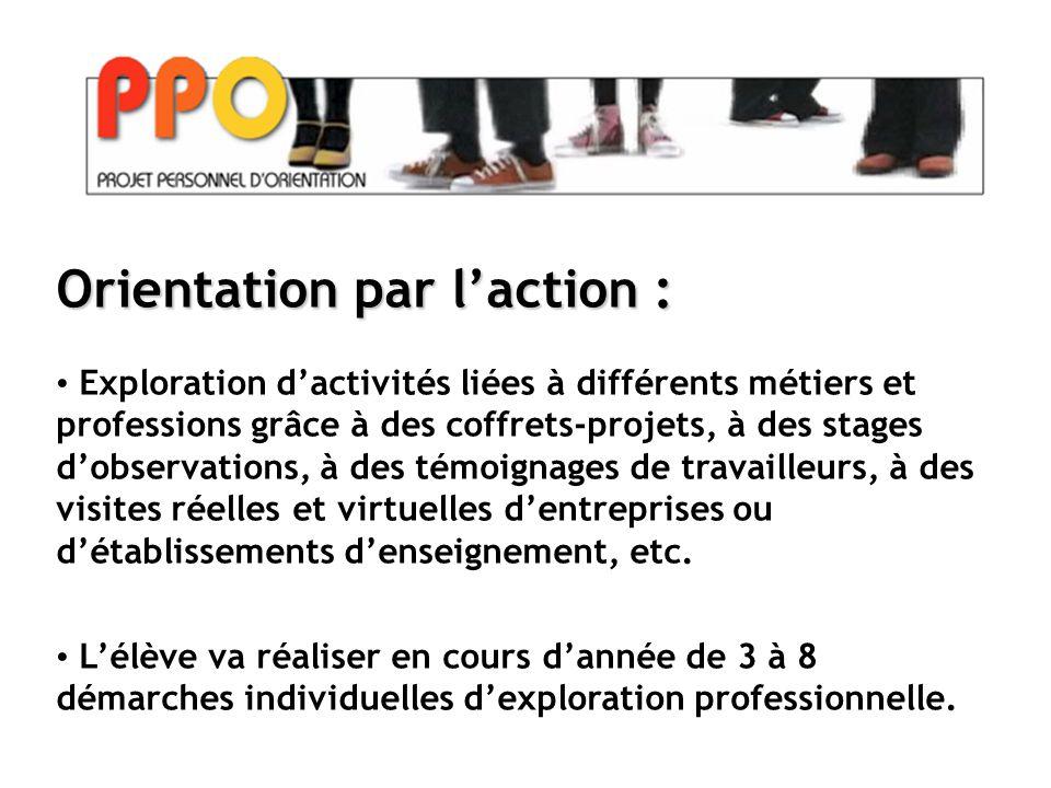 Orientation par l'action : Exploration d'activités liées à différents métiers et professions grâce à des coffrets-projets, à des stages d'observations, à des témoignages de travailleurs, à des visites réelles et virtuelles d'entreprises ou d'établissements d'enseignement, etc.