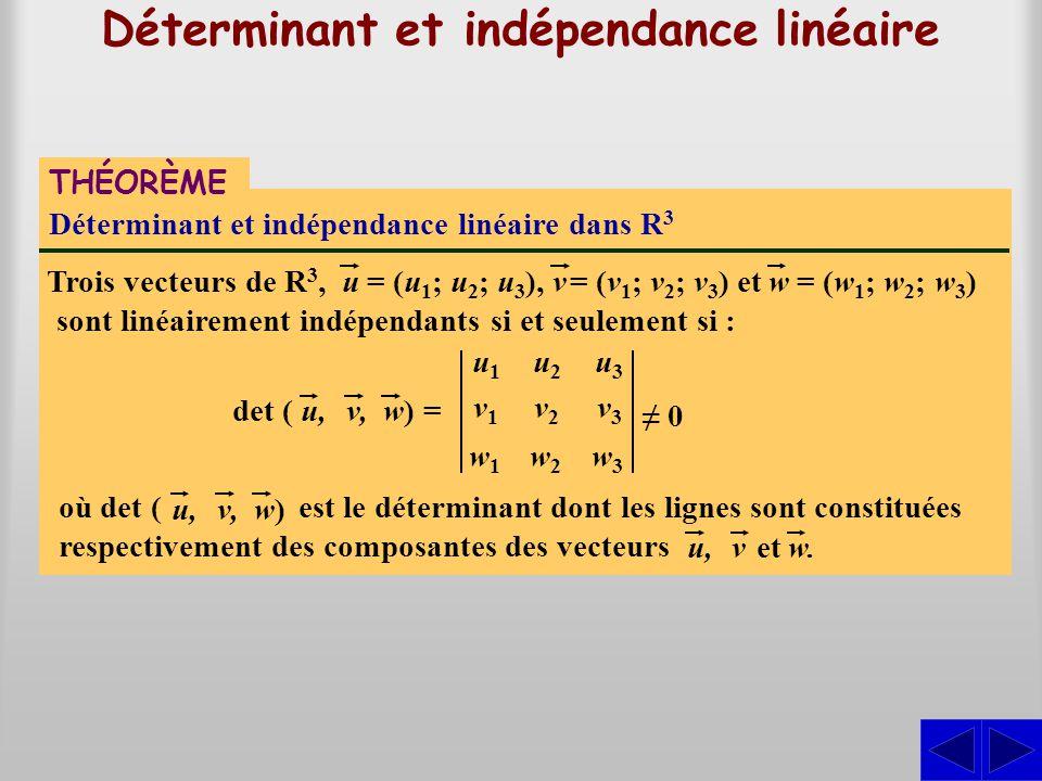 Déterminant et indépendance linéaire THÉORÈME Déterminant et indépendance linéaire dans R 3 Trois vecteurs de R 3,uv= (u 1 ; u 2 ; u 3 ),= (v 1 ; v 2