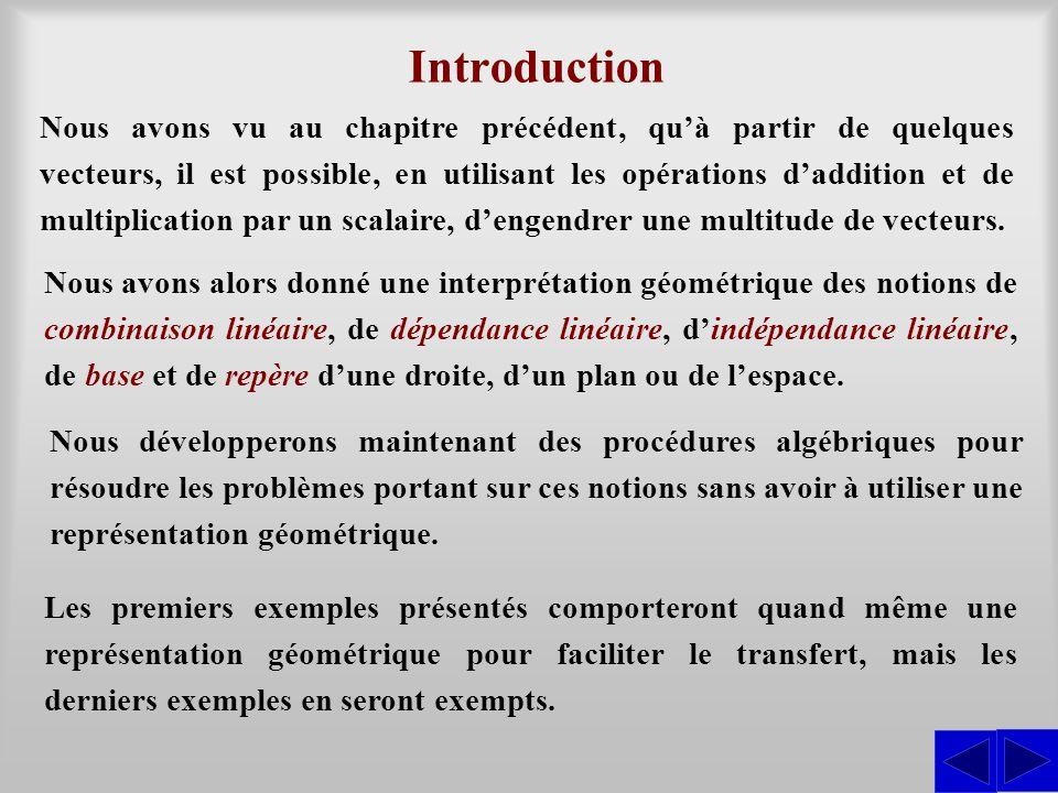 Nous avons vu au chapitre précédent, qu'à partir de quelques vecteurs, il est possible, en utilisant les opérations d'addition et de multiplication pa
