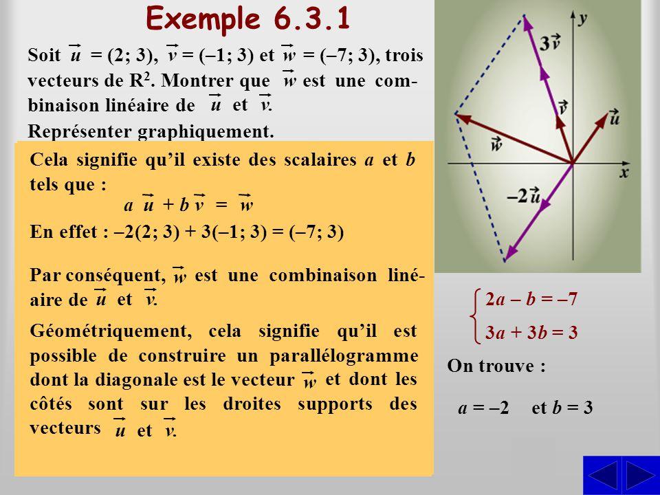 (2a – b; 3a + 3b) = (–7; 3) Exemple 6.3.1 On veut montrer qu'il existe des scalaires a et b tels que : S Par substitution, on peut écrire : est une co