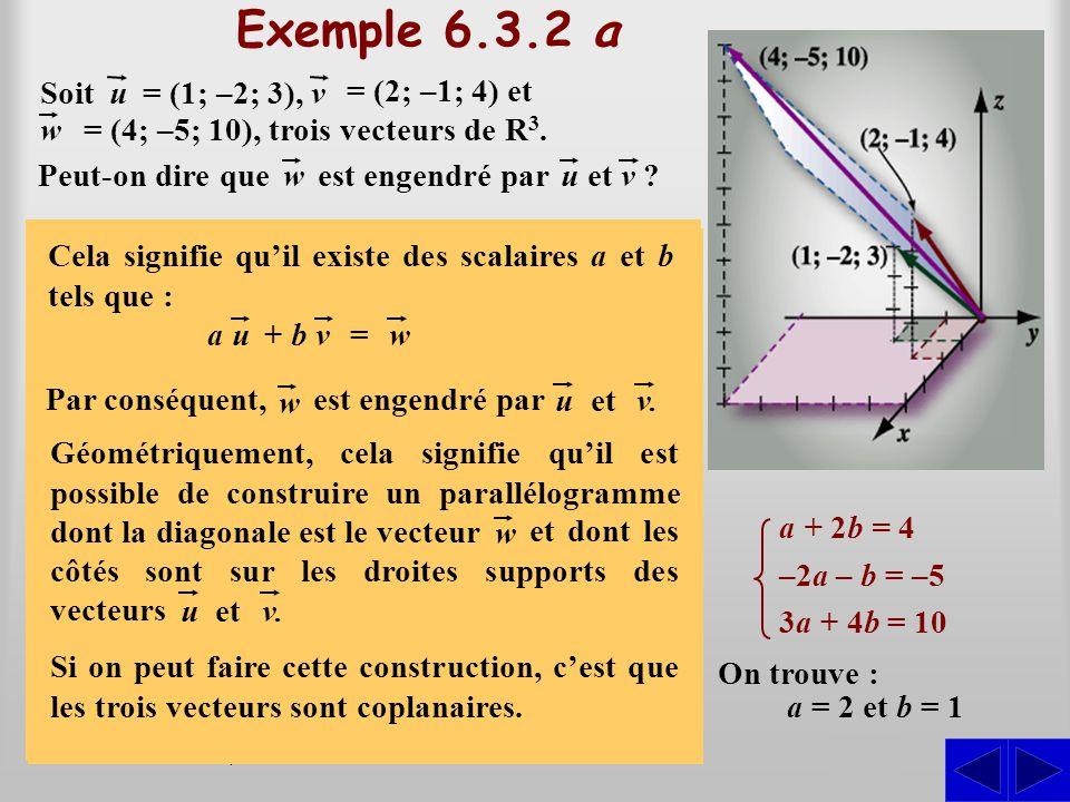 (a + 2b; –2a – b; 3a + 4b) = (4; –5; 10) Exemple 6.3.2 a On veut savoir s'il existe des scalaires a et b tels que : S Par substitution, on peut écrire