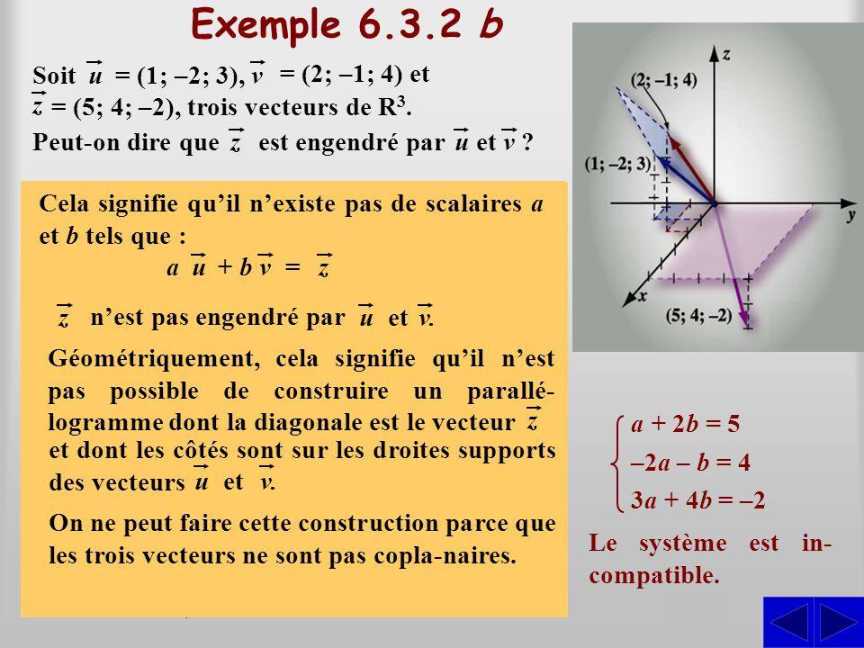 (a + 2b–2a – b; 3a + 4b) = (5; 4; –2) Exemple 6.3.2 b On veut savoir s'il existe des scalaires a et b tels que : S Par substitution, on peut écrire :
