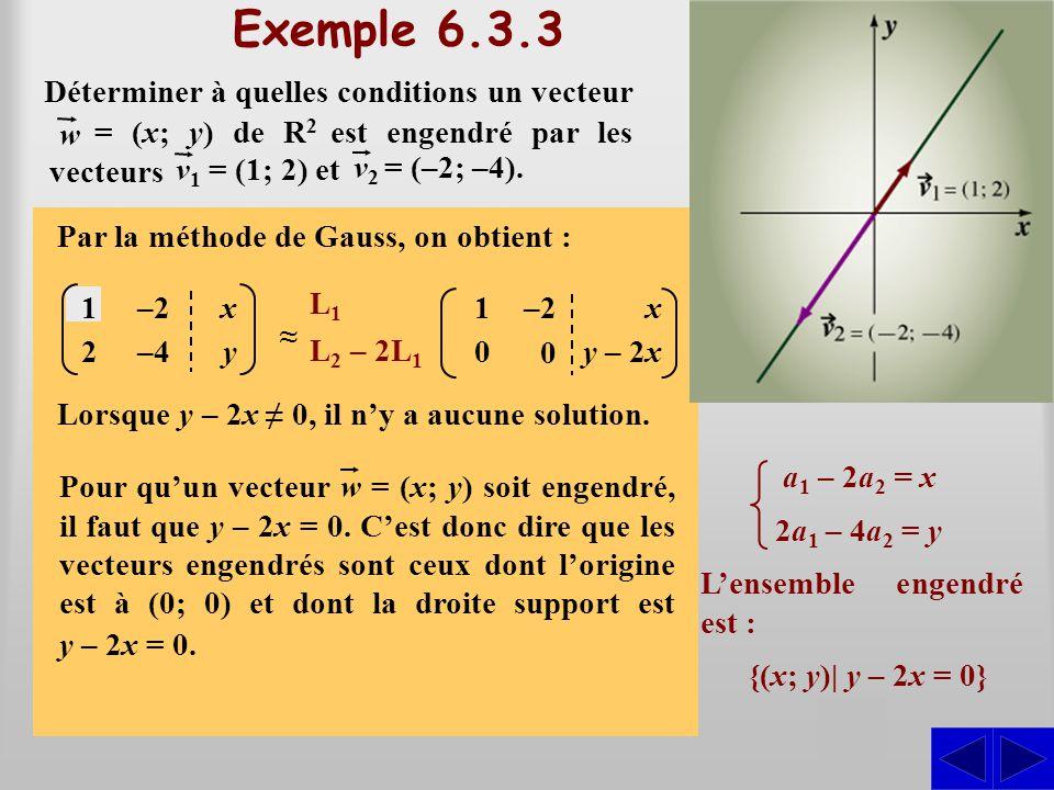 (a 1 – 2a 2 ; 2a 1 – 4a 2 ) = (x; y) Exemple 6.3.3 On doit déterminer à quelles conditions il existe des scalaires a 1 et a 2 tels que : S Par substit