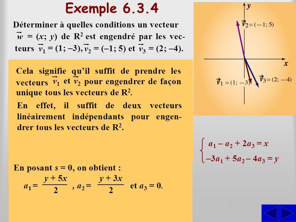 (a 1 – a 2 + 2a 3 ; –3a 1 + 5a 2 – 4a 3 ) = (x; y) Exemple 6.3.4 On doit déterminer à quelles conditions il existe des scalaires a 1, a 2 et a 3 tels