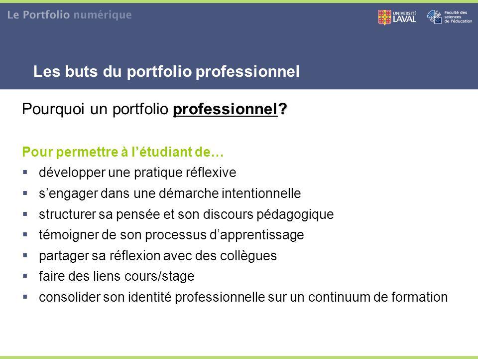 Les buts du portfolio professionnel ? Pourquoi un portfolio professionnel? Pour permettre à l'étudiant de…  développer une pratique réflexive  s'eng
