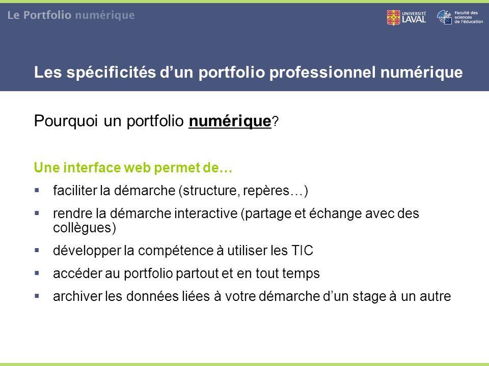 Pourquoi un portfolio numérique ? Une interface web permet de…  faciliter la démarche (structure, repères…)  rendre la démarche interactive (partage
