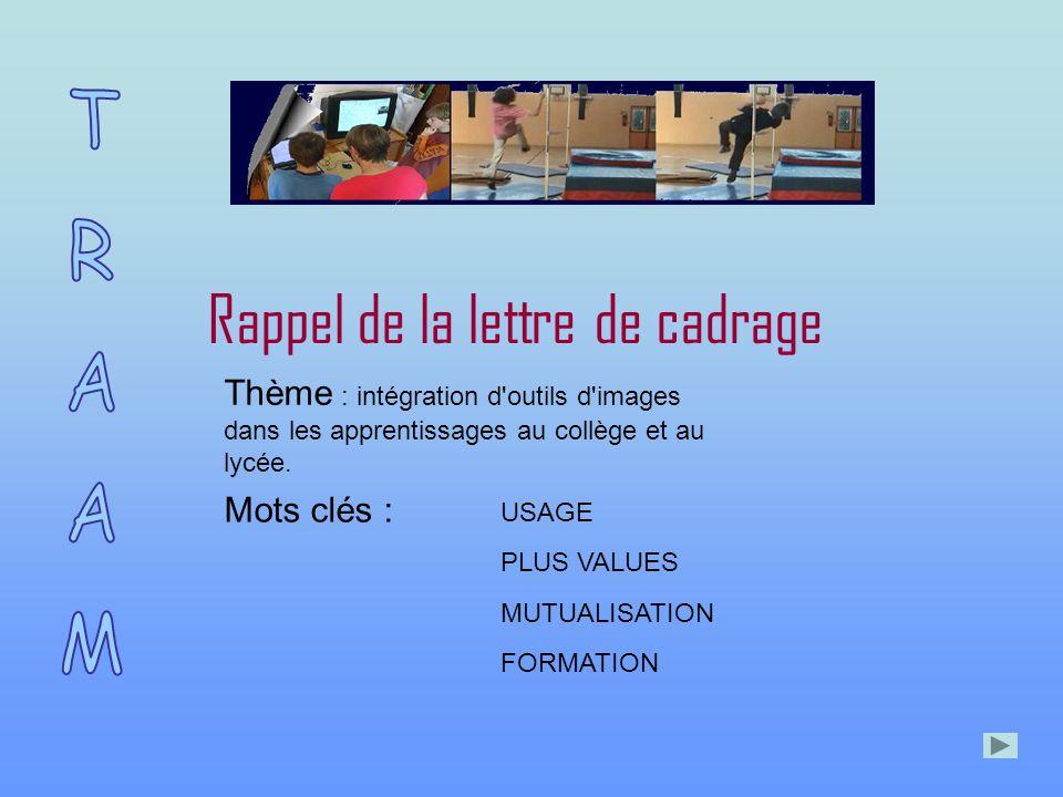 Rappel de la lettre de cadrage Thème : intégration d outils d images dans les apprentissages au collège et au lycée.