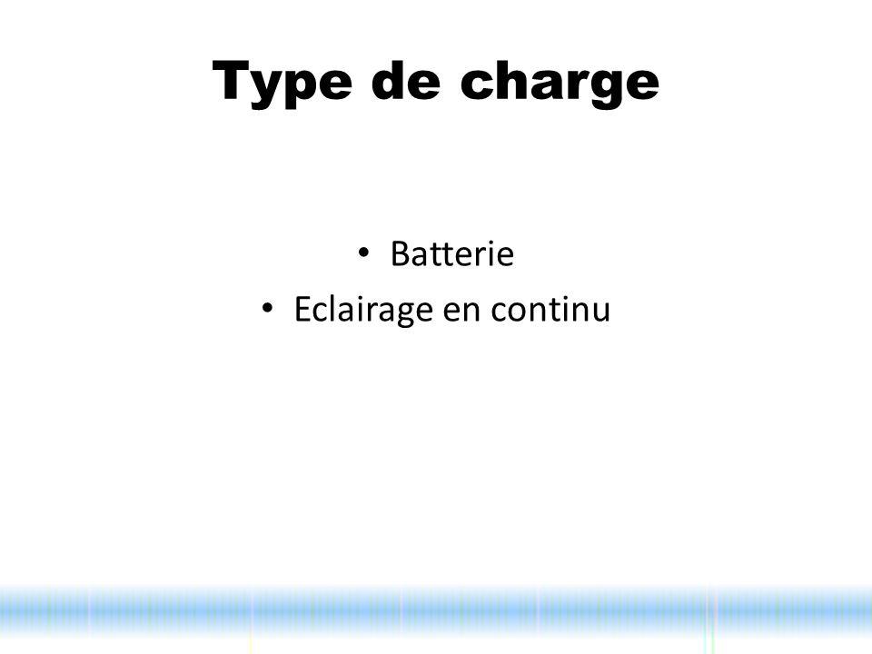 Type de charge Batterie Eclairage en continu