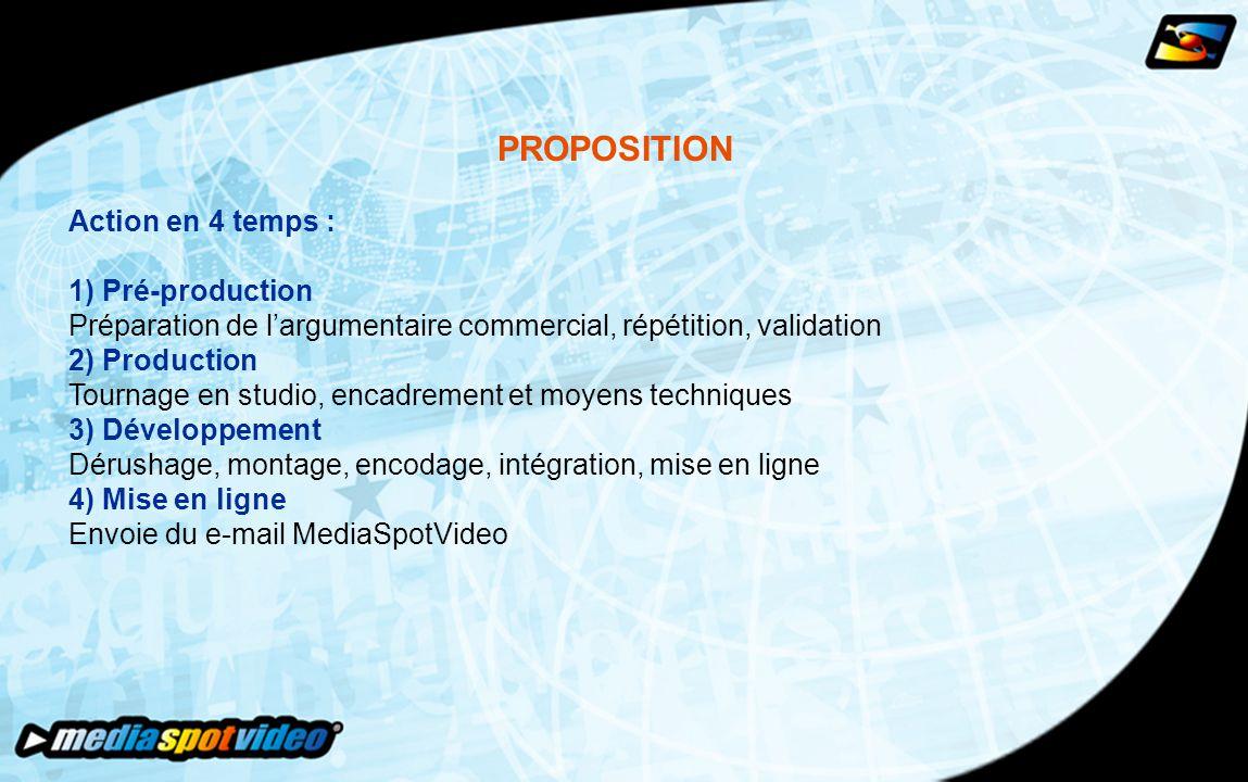 PROPOSITION Action en 4 temps : 1) Pré-production Préparation de l'argumentaire commercial, répétition, validation 2) Production Tournage en studio, encadrement et moyens techniques 3) Développement Dérushage, montage, encodage, intégration, mise en ligne 4) Mise en ligne Envoie du e-mail MediaSpotVideo