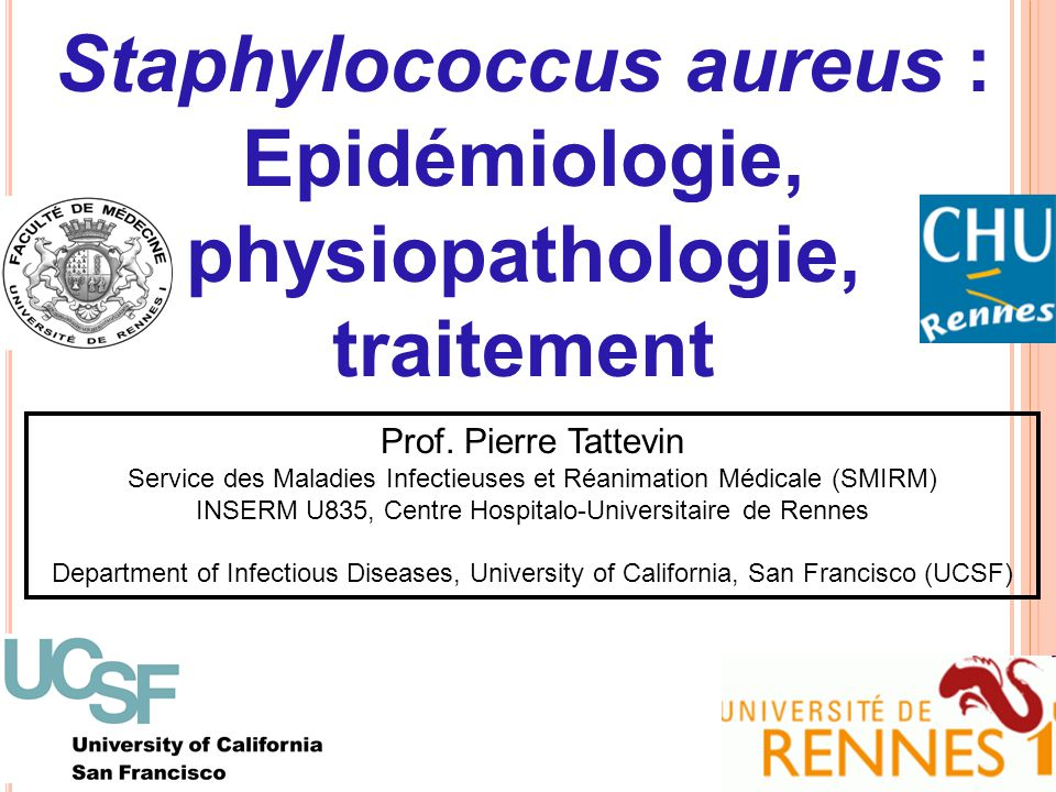 CaractéristiquesOdds Ratio ajusté (IC 95%)P ATB anti-staphylococciques au cours des 30 derniers jours 0,6 (0,4 – 0,9)0,033 Bactériémie diagnostiquée aux urgences du SFGH 2,2 (1,4 – 3,5)< 0,001 Infection associée de la peau et des tissus mous (porte d'entrée ?) 2,2 (1,4 – 3,5)0,001 Séropositivité VIH2,2 (1,3 – 3,9)0,006 Tattevin et al., ICAAC 2008 Bactériémies à SARM, SFGH (2000-2006) USA300 vs non USA300 Analyse multivariée (régression logistique)