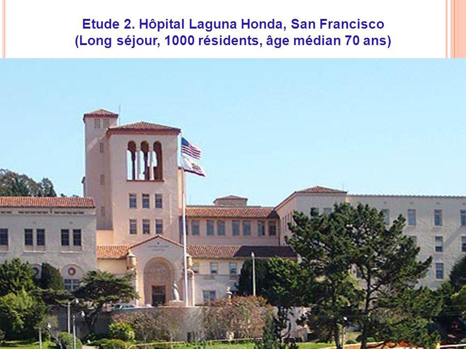 CNU 45-03, 15/04/2010 Etude 2. Hôpital Laguna Honda, San Francisco (Long séjour, 1000 résidents, âge médian 70 ans)
