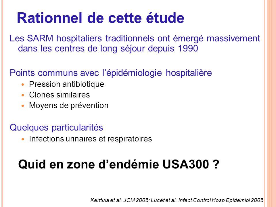 Rationnel de cette étude Les SARM hospitaliers traditionnels ont émergé massivement dans les centres de long séjour depuis 1990 Points communs avec l'