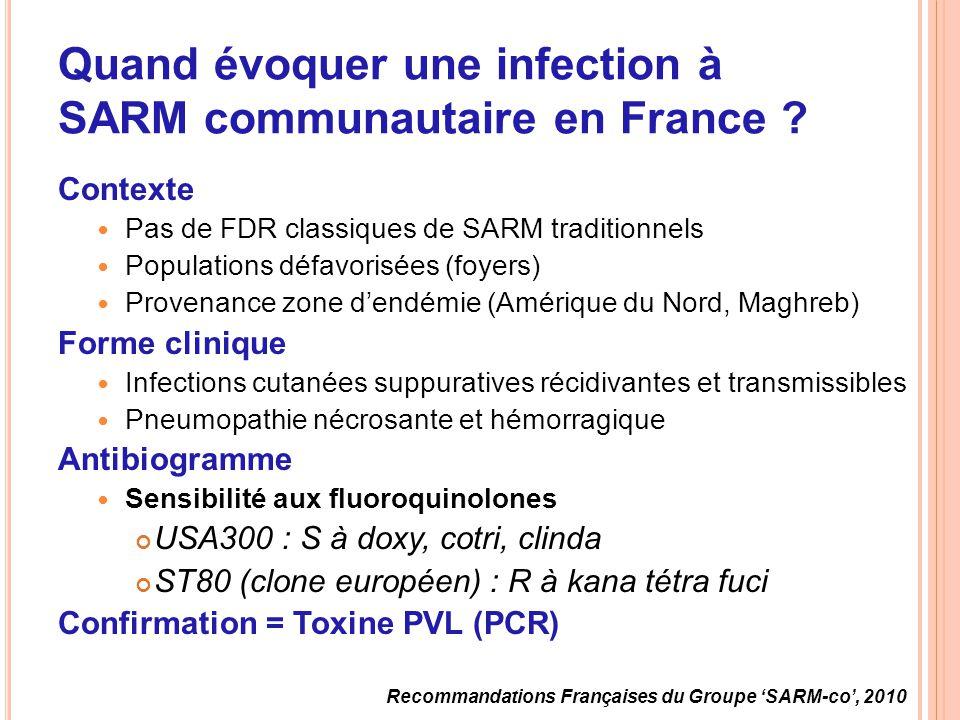 Quand évoquer une infection à SARM communautaire en France ? Contexte Pas de FDR classiques de SARM traditionnels Populations défavorisées (foyers) Pr