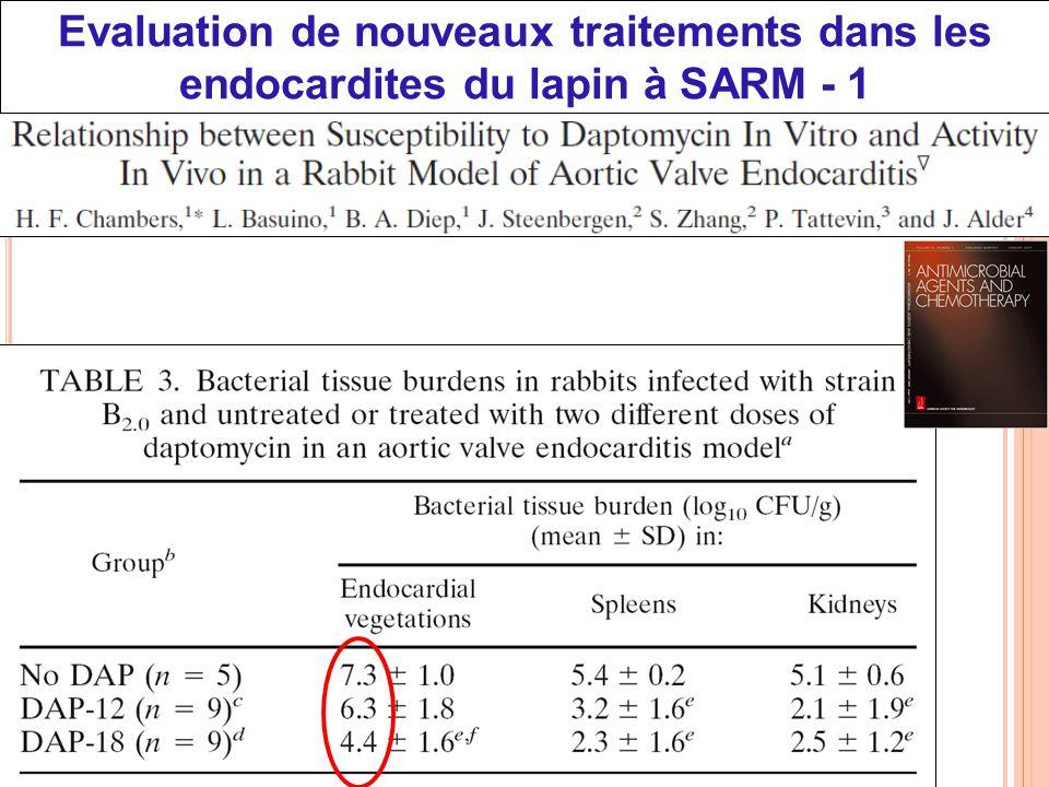 CNU 45-03, 15/04/2010 Evaluation de nouveaux traitements dans les endocardites du lapin à SARM - 1