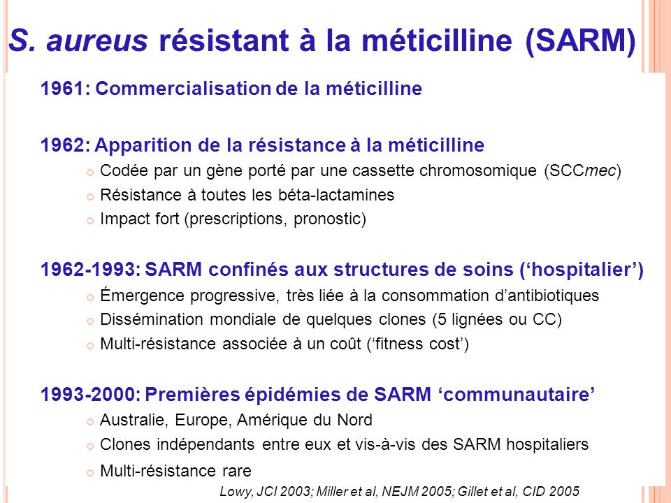 Historique des SARM 1961: Commercialisation de la méticilline 1962: Apparition de la résistance à la méticilline Codée par un gène porté par une casse