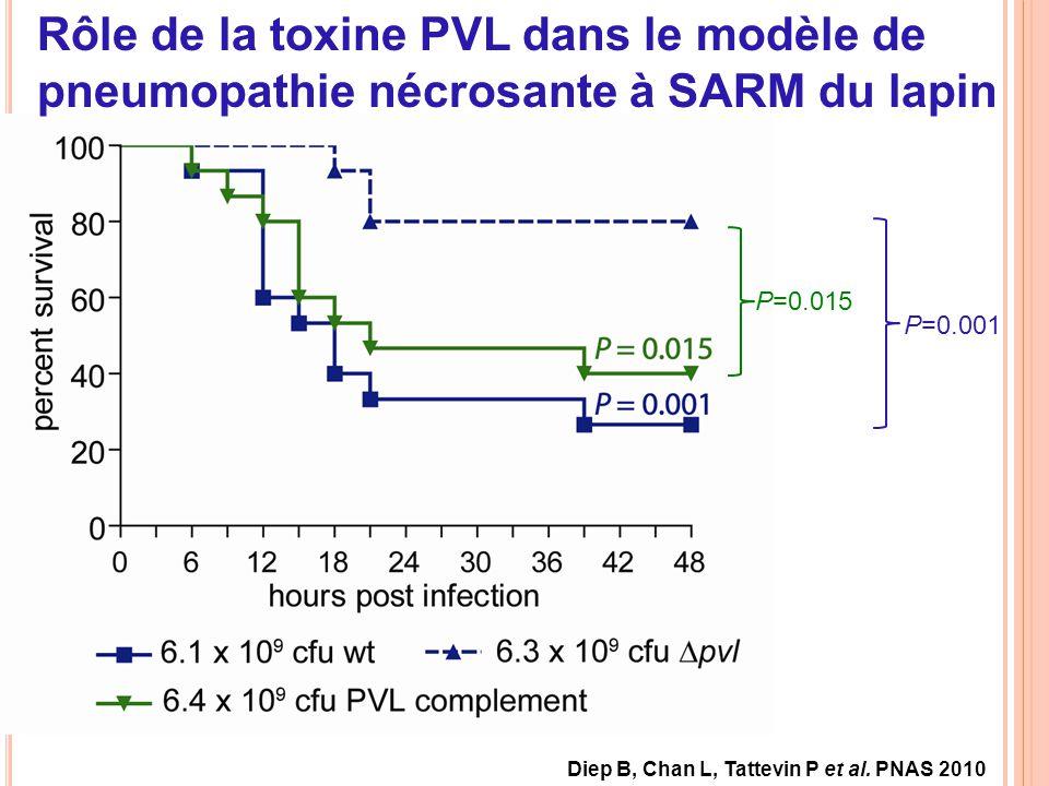 P=0.001 P=0.015 Rôle de la toxine PVL dans le modèle de pneumopathie nécrosante à SARM du lapin Diep B, Chan L, Tattevin P et al. PNAS 2010