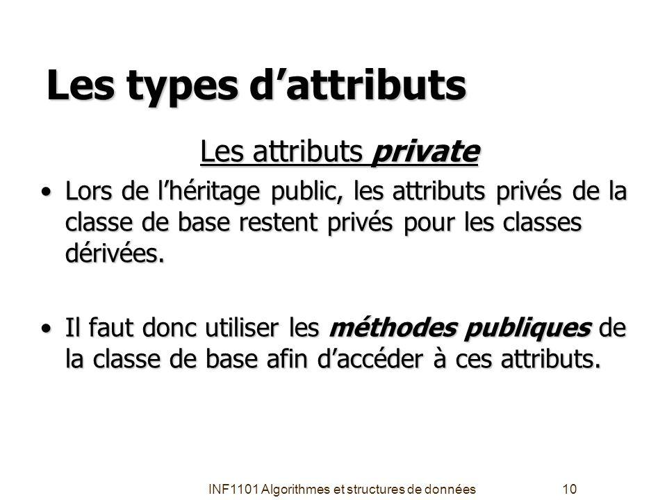 INF1101 Algorithmes et structures de données10 Les types d'attributs Les attributs private Lors de l'héritage public, les attributs privés de la class