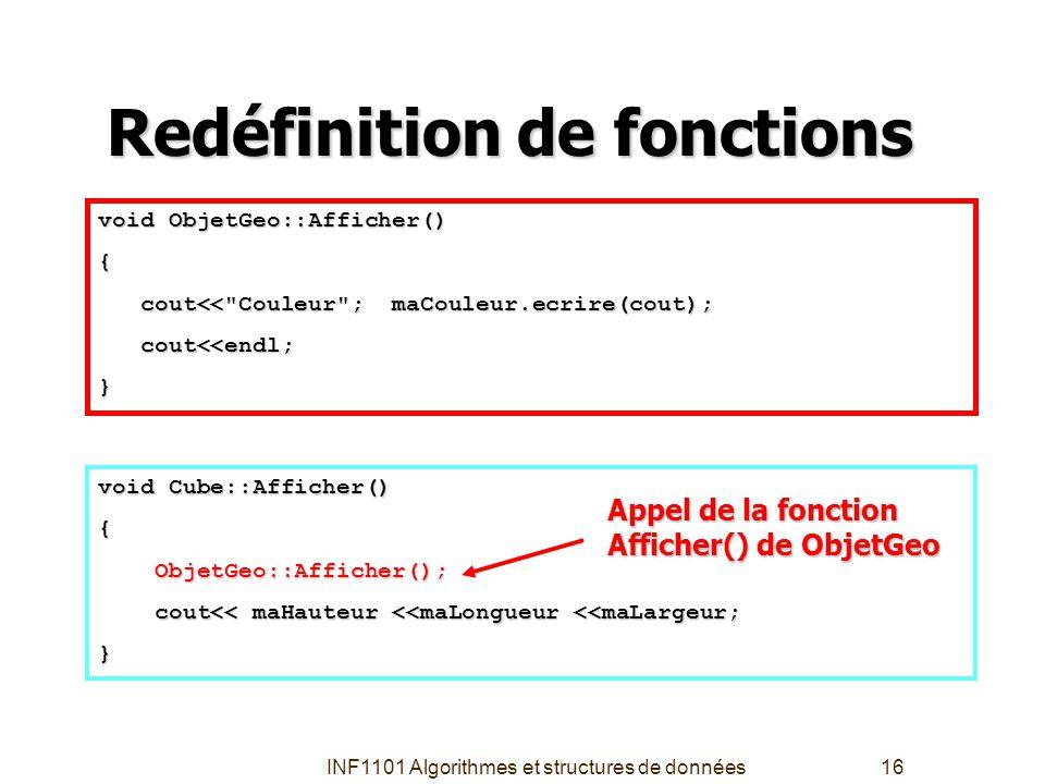 INF1101 Algorithmes et structures de données16 Redéfinition de fonctions void Cube::Afficher() { ObjetGeo::Afficher(); ObjetGeo::Afficher(); cout<< ma