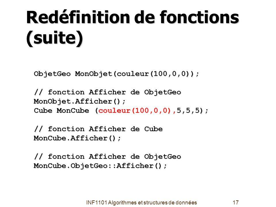 INF1101 Algorithmes et structures de données17 Redéfinition de fonctions (suite) ObjetGeo MonObjet(couleur(100,0,0)); // fonction Afficher de ObjetGeo
