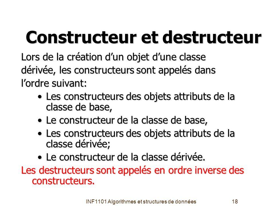 INF1101 Algorithmes et structures de données18 Constructeur et destructeur Lors de la création d'un objet d'une classe dérivée, les constructeurs sont
