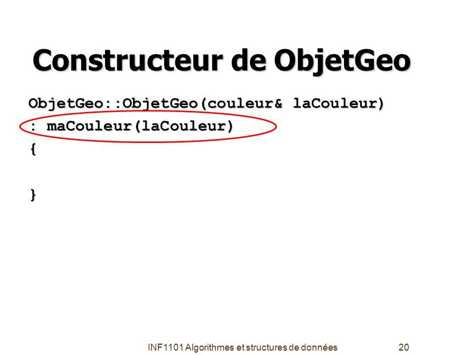 INF1101 Algorithmes et structures de données20 Constructeur de ObjetGeo ObjetGeo::ObjetGeo(couleur& laCouleur) : maCouleur(laCouleur) { }