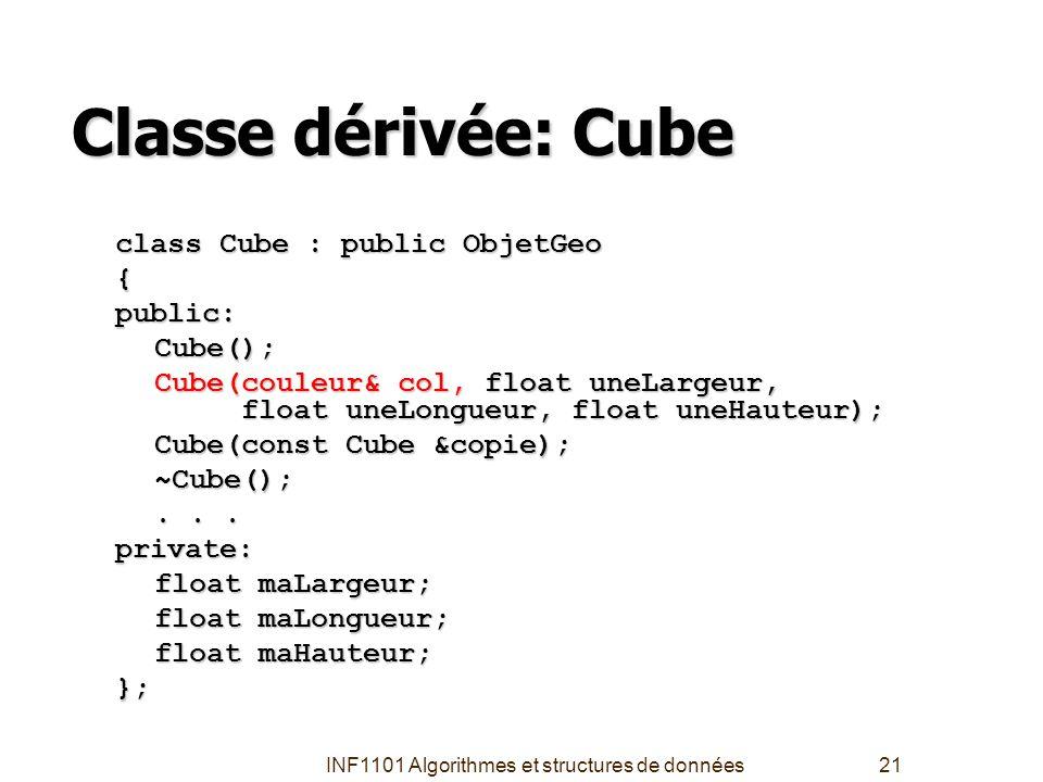 INF1101 Algorithmes et structures de données21 Classe dérivée: Cube class Cube : public ObjetGeo {public:Cube(); Cube(couleur& col, float uneLargeur,