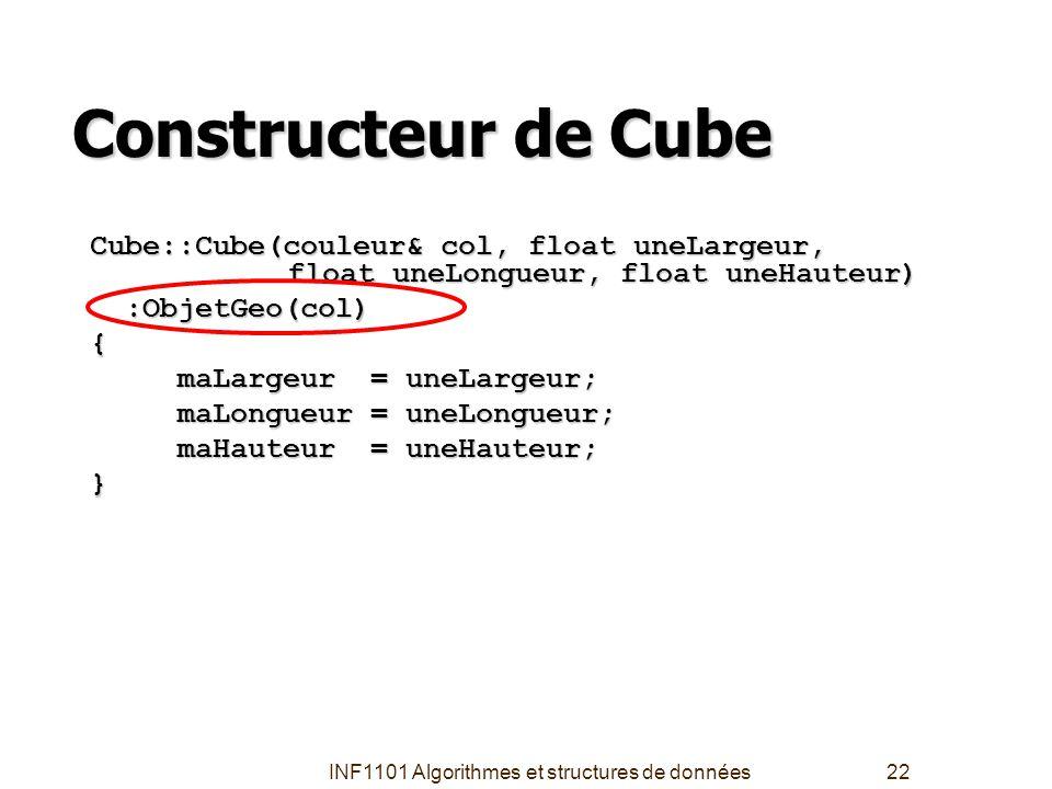 INF1101 Algorithmes et structures de données22 Constructeur de Cube Cube::Cube(couleur& col, float uneLargeur, float uneLongueur, float uneHauteur) :O