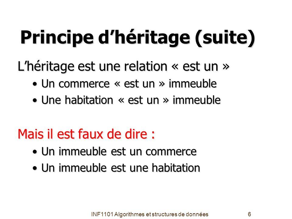 INF1101 Algorithmes et structures de données6 Principe d'héritage (suite) L'héritage est une relation « est un » Un commerce « est un » immeubleUn com