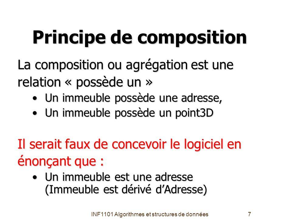 INF1101 Algorithmes et structures de données7 Principe de composition La composition ou agrégation est une relation « possède un » Un immeuble possède