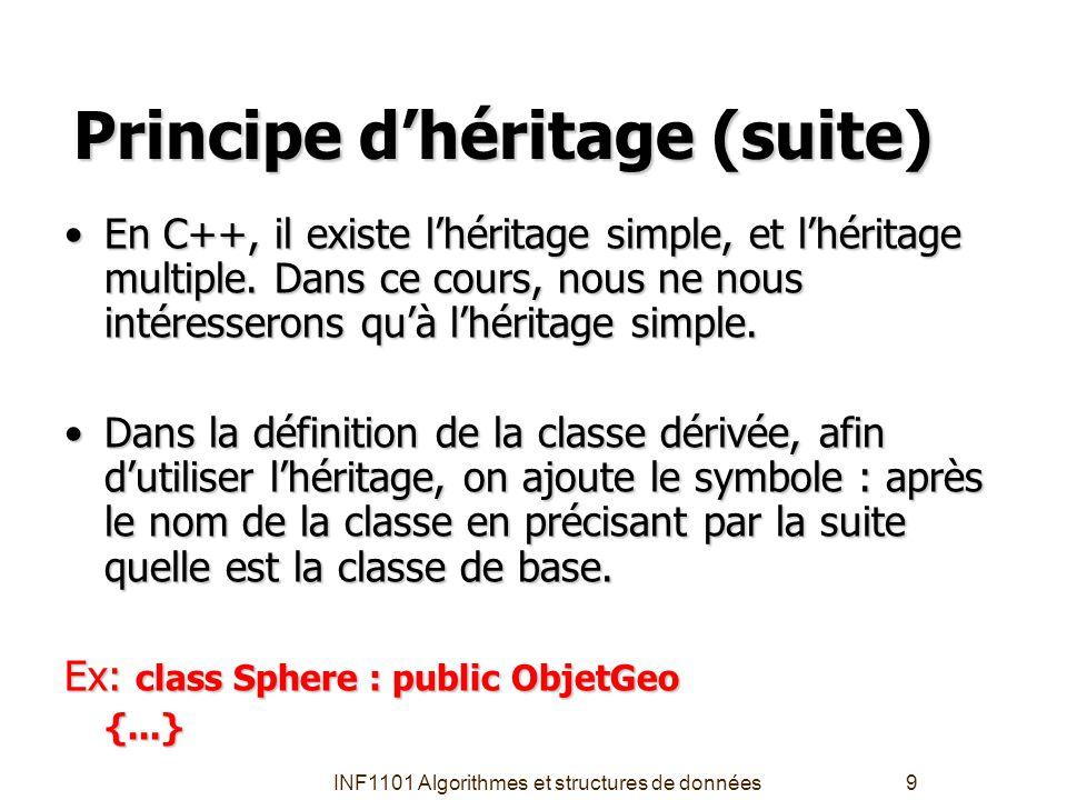 INF1101 Algorithmes et structures de données9 Principe d'héritage (suite) En C++, il existe l'héritage simple, et l'héritage multiple. Dans ce cours,