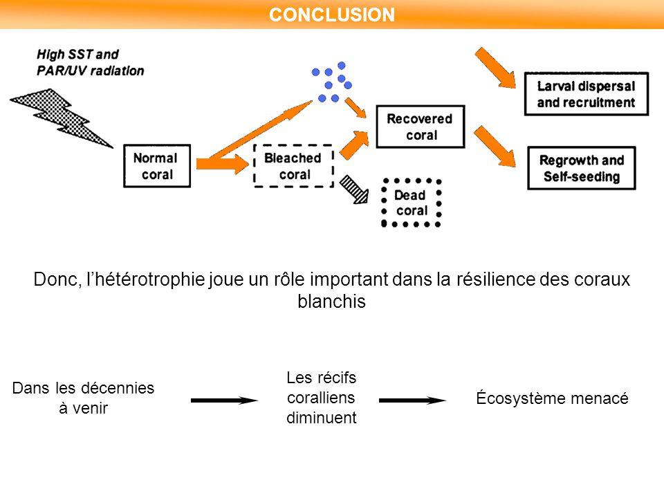 CONCLUSION Donc, l'hétérotrophie joue un rôle important dans la résilience des coraux blanchis Dans les décennies à venir Les récifs coralliens diminu