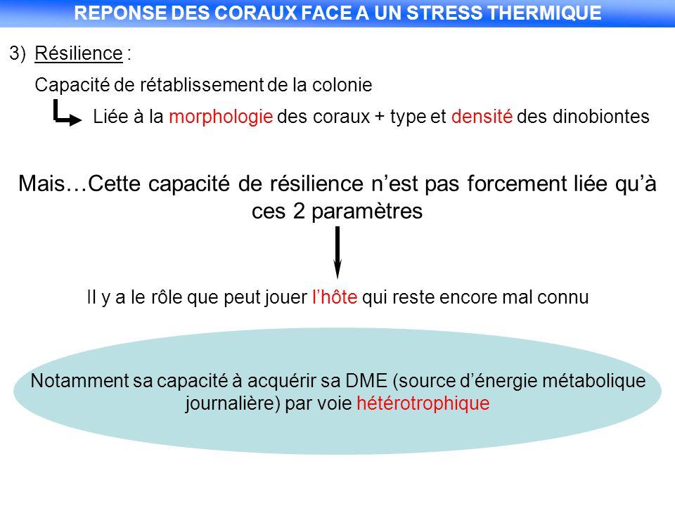 3)Résilience : Capacité de rétablissement de la colonie Liée à la morphologie des coraux + type et densité des dinobiontes Mais…Cette capacité de rési
