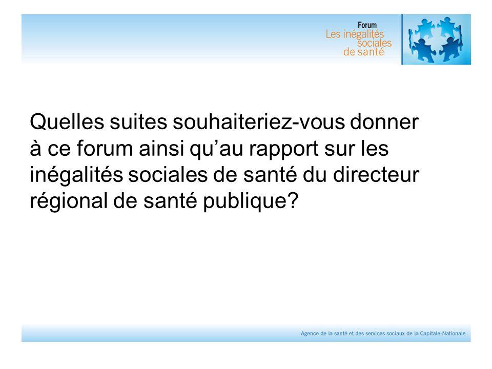 Quelles suites souhaiteriez-vous donner à ce forum ainsi qu'au rapport sur les inégalités sociales de santé du directeur régional de santé publique?