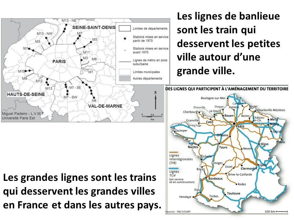 Les lignes de banlieue sont les train qui desservent les petites ville autour d'une grande ville. Les grandes lignes sont les trains qui desservent le