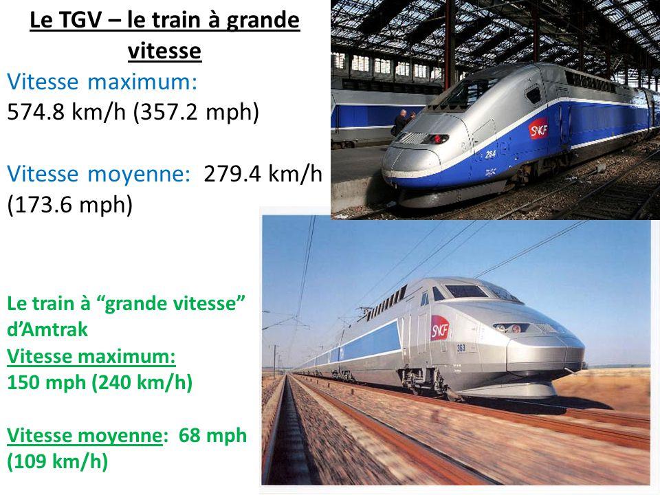"""Le TGV – le train à grande vitesse Vitesse maximum: 574.8 km/h (357.2 mph) Vitesse moyenne: 279.4 km/h (173.6 mph) Le train à """"grande vitesse"""" d'Amtra"""