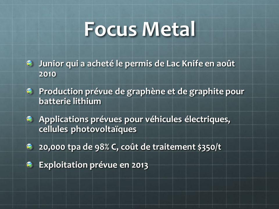 Focus Metal Junior qui a acheté le permis de Lac Knife en août 2010 Production prévue de graphène et de graphite pour batterie lithium Applications pr