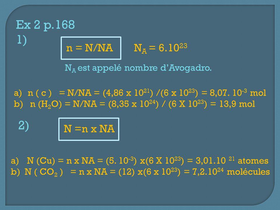 Ex 2 p.168 1) N A est appelé nombre d'Avogadro. N A = 6.10 23 n = N/NA a)n ( c ) = N/NA = (4,86 x 10 21 ) /(6 x 10 23 ) = 8,07. 10 -3 mol b) n (H 2 O)