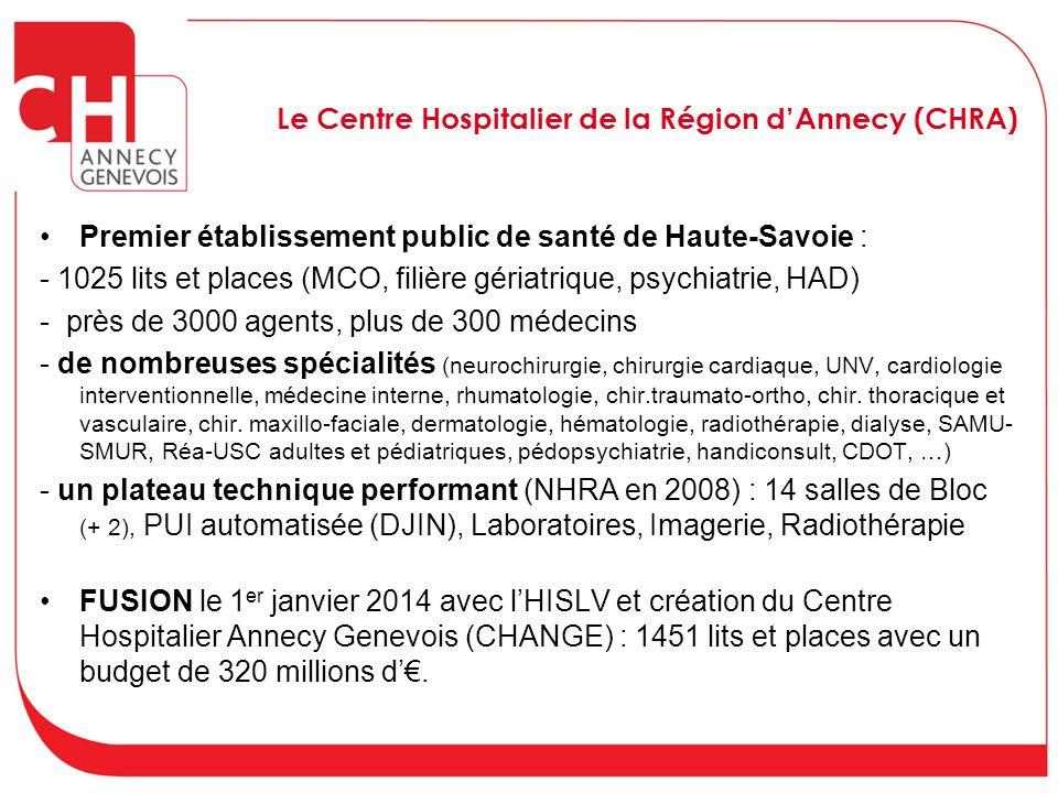 Le Centre Hospitalier de la Région d'Annecy (CHRA) Premier établissement public de santé de Haute-Savoie : - 1025 lits et places (MCO, filière gériatr