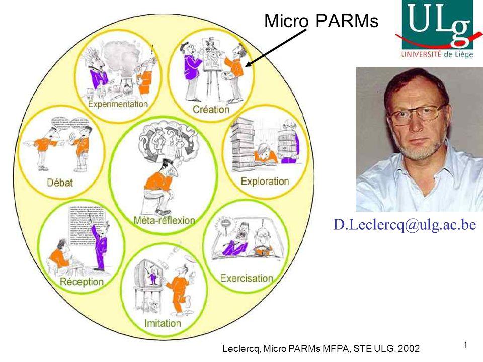 Leclercq, Micro PARMs MFPA, STE ULG, 2002 32 MFPA du Groupe 14………..Micro PARM sur …ATI pour la formation Chap 2 p.