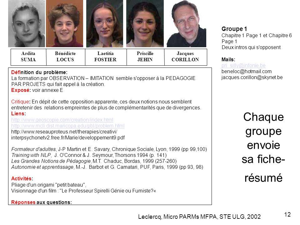 Leclercq, Micro PARMs MFPA, STE ULG, 2002 12 Chaque groupe envoie sa fiche- résumé Groupe 1 Chapitre 1 Page 1 et Chapitre 6 Page 1 Deux intros qui s'o