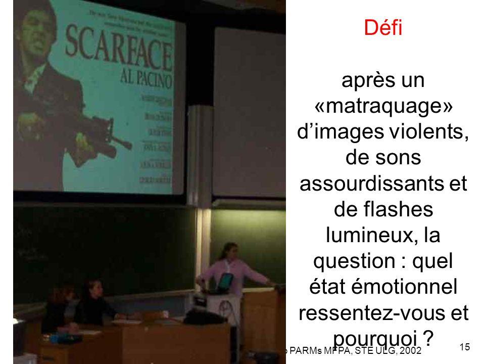 Leclercq, Micro PARMs MFPA, STE ULG, 2002 15 Défi après un «matraquage» d'images violents, de sons assourdissants et de flashes lumineux, la question : quel état émotionnel ressentez-vous et pourquoi ?