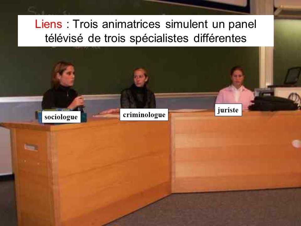 Leclercq, Micro PARMs MFPA, STE ULG, 2002 19 Liens : Trois animatrices simulent un panel télévisé de trois spécialistes différentes sociologue crimino