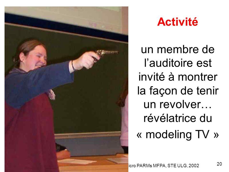 Leclercq, Micro PARMs MFPA, STE ULG, 2002 20 Activité un membre de l'auditoire est invité à montrer la façon de tenir un revolver… révélatrice du « modeling TV »