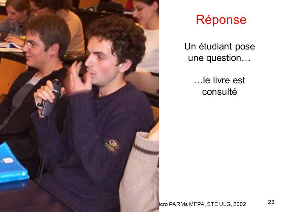 Leclercq, Micro PARMs MFPA, STE ULG, 2002 23 Un étudiant pose une question… …le livre est consulté Réponse