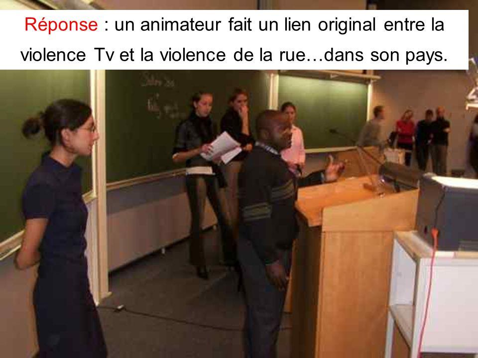 Leclercq, Micro PARMs MFPA, STE ULG, 2002 25 Réponse : un animateur fait un lien original entre la violence Tv et la violence de la rue…dans son pays.