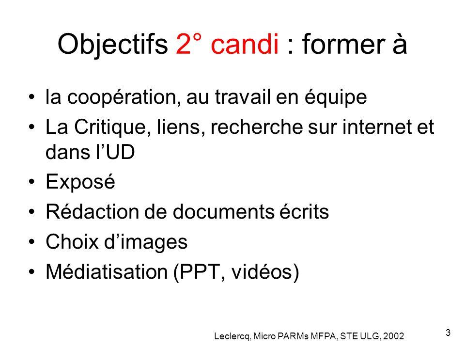 Leclercq, Micro PARMs MFPA, STE ULG, 2002 3 Objectifs 2° candi : former à la coopération, au travail en équipe La Critique, liens, recherche sur internet et dans l'UD Exposé Rédaction de documents écrits Choix d'images Médiatisation (PPT, vidéos)